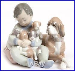 Lladro 5456 New Playmates Figurine Spain Boy Puppies Dog Mint