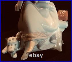 Lladro #5466 Chit Chat Girl Talking On Phone Dalmatian Dog