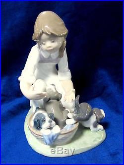 Lladro #5595 Joy In A Basket Bnib Girl Cute Puppies Basket Dog $170 Off F/ship