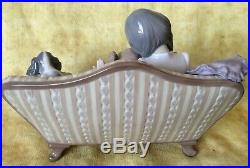 Lladro #5735 Big Sister Two Sisters with Dog on Couch Porcelain Figurine