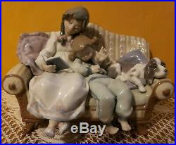 Lladro #5735 Girls with Dog on Couch Porcelain Figurine
