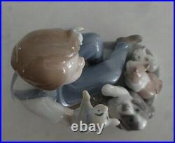 Lladro 5736 Puppet Show boy with 2 puppets a cat, kitten & dog MIB, RV$385