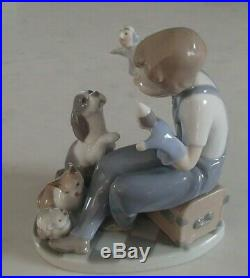 Lladro 5736 Puppet Show boy with 2 puppets a cat, kitten & dog MWOB, RV$385