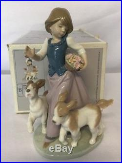 Lladro 5761 Out For A Romp Retired Girl Dogs Porcelain Figure Excellent EUC