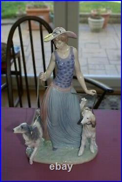 Lladro #5802 Elegant Promenade Lady Walking Two Dogs Afghan and Borzhoi Retired