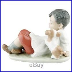 Lladro #5988 Taking Time Boy Leaning Back with Dog Great Condition Retired