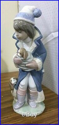 Lladro # 6019 FRIDAY'S CHILD Boy w Puppies Dog Winter Coat Hat NEW in Box
