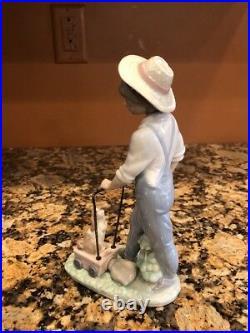 Lladro 6021 Saturdays Child Boy Dog Wagon Porcelain Figurine