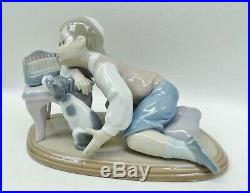 Lladro 6027 Hanukah Lights Boy With Menorah and Dog by Francisco Polope