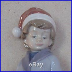 Lladro #6166 Dear Santa boy with dog & Wish List/Letter to Santa MIB, RV$385