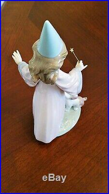 Lladro 6170 Under My Spell Fairy Girl using Wand on Puppy Dog