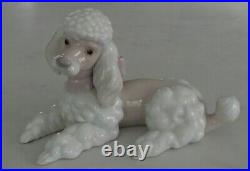 Lladro 6337 Poodle puppy dog w pink purple bow lying down MWOB, RV$340