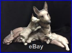 Lladro 6454 German Shepherd Dog with Puppies- Flawless-Mint