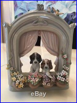 Lladro #6502 Fine 1998 Porcelain Figurine of Two Dogs Please Come Home