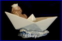 Lladro #6642 Little Stowaway Brand New In Box Dog In Paper Boat Sailing Save$ Fs