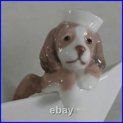 Lladro 6642 Little Stowaway puppy dog adrift in a paper boat MWOB, RV$215