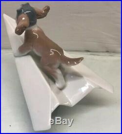 Lladro #6665 Let's Fly Away New -Dog on Paper Airplane- Mint