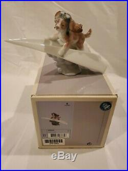 Lladro #6665 Let's Fly Away in box! Mint condition. Dog on Paper Airplane