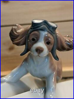 Lladro 6665 Lets Fly Away Dog On A Paper Plane Excellent