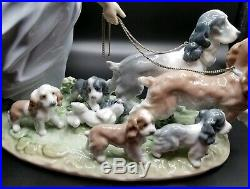 Lladro 6784 PUPPY PARADE Girl Walking Dogs MINT Retired with Original Box
