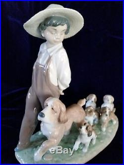 Lladro #6828 My Little Explorers Boy With Dog And Pups Privilege Collection