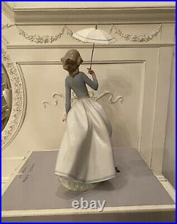 Lladro 6951'sunlit Garden' Lady With Dog And Umbrella Retired