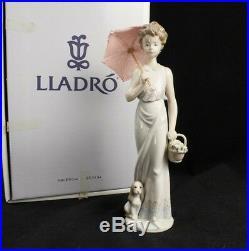 Lladro 7617 Garden Classic Girl Umbrella Basket Dog Collectors Society Signed