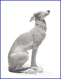 Lladro 8607 Attentive Greyhound Dog White Figurine 01008607 New