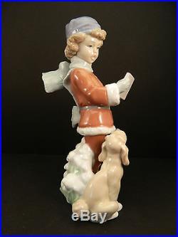 Lladro A Christmas Duet 6714 Porcelain Figurine Boy with Dog Retired Caroling