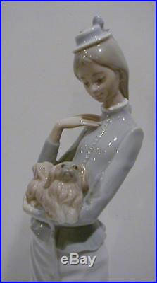 Lladro A Walk With The Dog Woman with Pekingese Dog & Parasol #4893