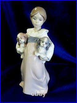 Lladro Arms Full Of Love Girl Figurine #6419 Brand Nib Puppies Cute Save$$ F/sh