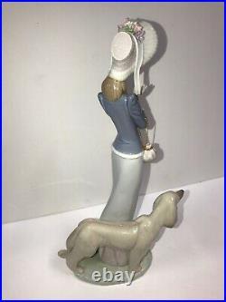 Lladro B De Paseo Con El Perro Stepping Out! Girl withDog Afghan EUC