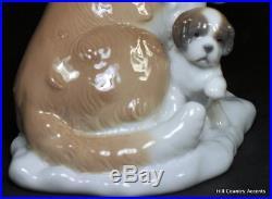 Lladro BABY- SITTING #8170 St. Bernard Dog, Puppy -Brandy Barrel Collar MIB