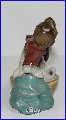 Lladro Bashful Bather #2273 Figurine Gres Girl Washing Dog Perfect