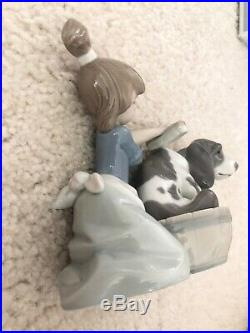 Lladro Bashful Bather #5455 Girl Washing Dog Mint With Box