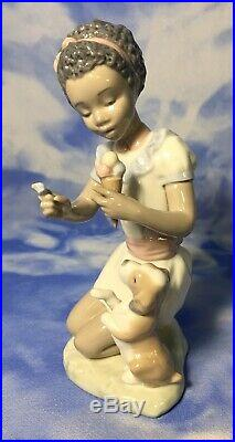 Lladro Black Lagacy Sharing Sweets Glazed Girl Figurine Dog Ice Cream 5836 EUC
