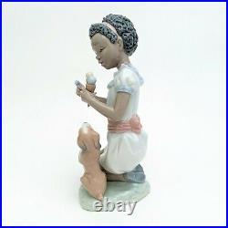 Lladro Black Legacy #5836'Sharing Sweets' Girl & Dog with Ice Cream Figurine