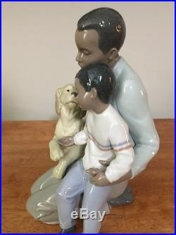 Lladro Black Legacy Figurine 6815 A Moment To Remember Father Son Dog