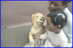 Lladro Black Legacy Figurine 6815 A Moment To Remember Father Son Dog withbox