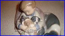 Lladro Blue Seal Vbl-12 Daisa-1987 Series Of A Small Boy And Dogs Retired
