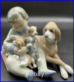 Lladro Boy Child With Dog & Puppies Figurine #5456. Retired. Excellent Cond