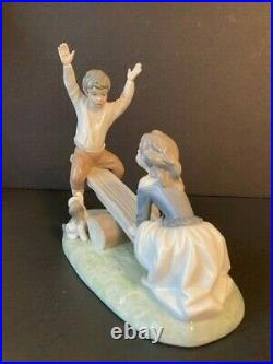 Lladro Boy & Girl With Dog On See-saw #4867 Matte Porcelain Retired Mint