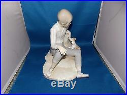Lladro Boy With Dog #4755 Glazed MINT CONDITION