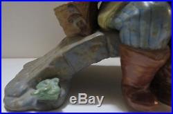 Lladro Boy with Dog fishing on Bridge Figurine