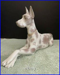 Lladro Brown Spotted Great Dane (Large) Dog Figurine Mint