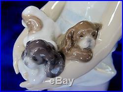 Lladro Can I Keep Them Brand Nib #8690 Girl Holding Puppies Dog Cute Save$ F/sh