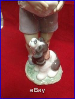 Lladro Can I Keep Them Girl Dog Puppies New 01008690