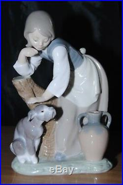 Lladro Caress & Rest Girl With Dog Figurine #1246