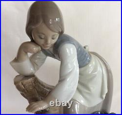 Lladro Caress and Rest #1246 Girl with Dog & Vase