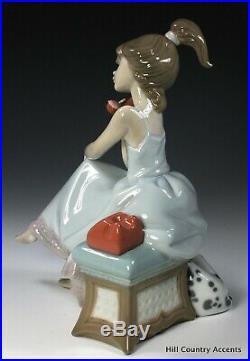 Lladro Chit Chat #5466 Teenage Girl Talking On Phone Dalmatian Dog Mib